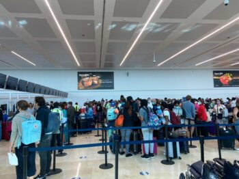 Passengers at the Cancun Airport